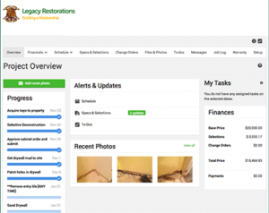 Legacy Restorations Inc. client web portal